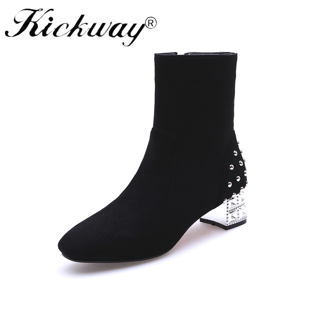 все цены на Kickway Faux suede ankle boots fashion square toe square heel women boots med heel lady boots side zip plus size 43 boots women