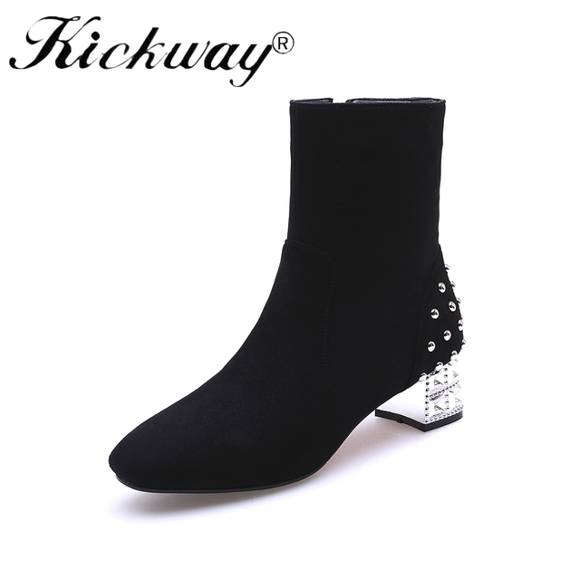 96b0d329c9d28 Kickway Faux suede ankle boots fashion square toe square heel women boots  med heel lady boots side zip plus size 43 boots women