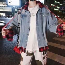 GUYI поддельные двойка плед джинсовая куртка с капюшоном для мужчин лоскутное Drawstring письмо пальто для будущих мам модная уличная