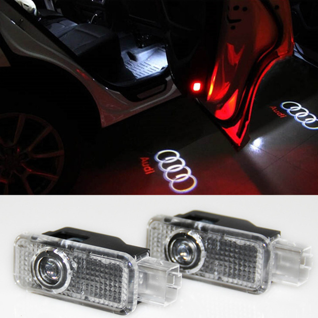 2pcs LED Door Warning Light Projector For Q5 A3 A4 B6 B7 B8 A5 A6 C5 C6 A7 A8 R8 Q7 TT B5 Q3 AUDI A4 A4L A6L S LINE A1 80