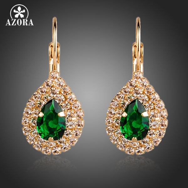 AZORA Guldfärg Grön Cubic Zirconia Tår Drop Earrings TE0152