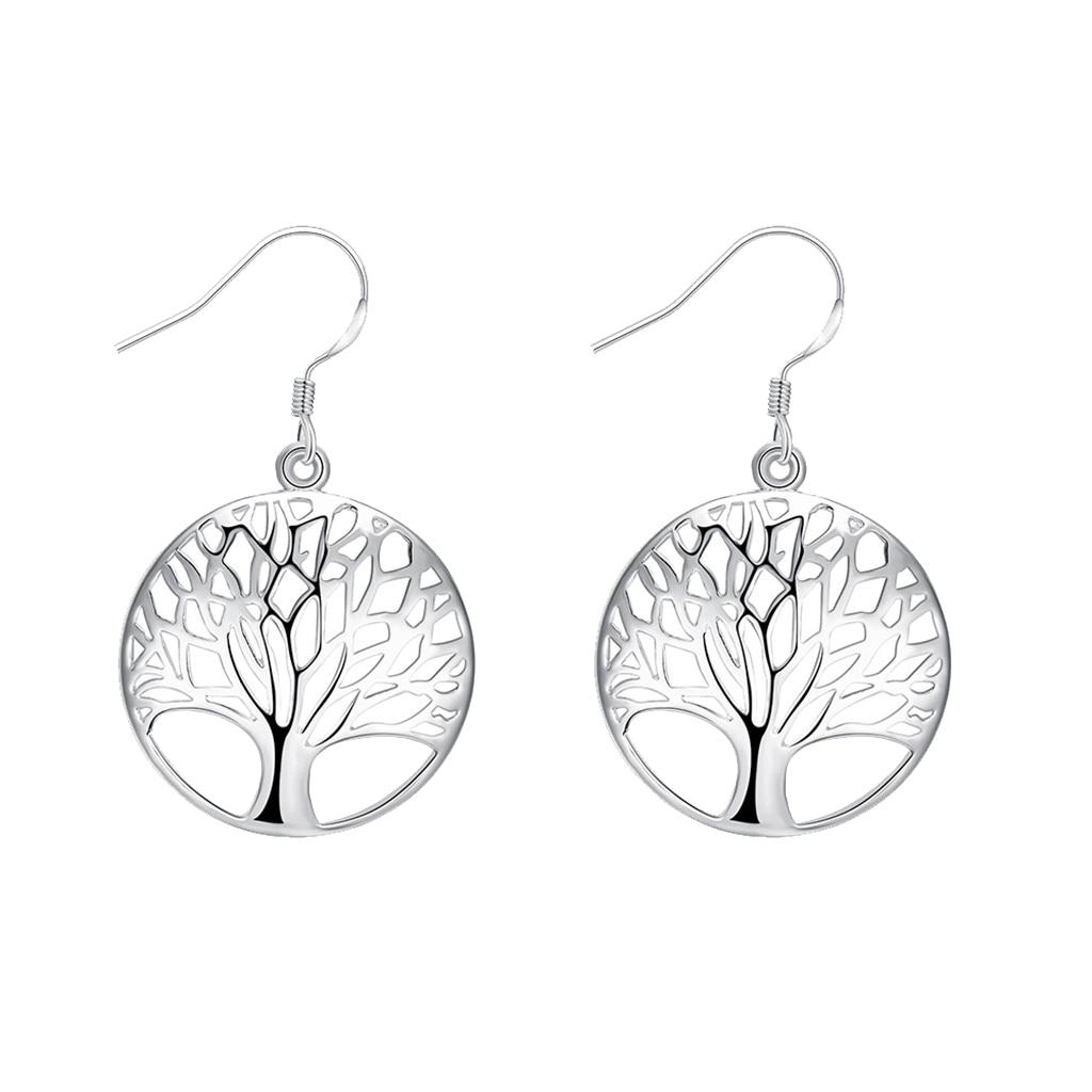 Elegant Women Lady Hook Earrings Tree of Life Dangle Hoops Jewelry Gifts