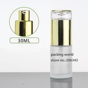 Image 2 - 30 ml frosted/groen/blauw/wit glazen fles goud pomp deksel voor serum/lotion/emulsie /foundation/anti uv/essentie/huidverzorging