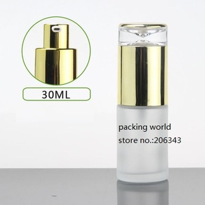 Image 2 - 30ml frosted/green/blue/white glass bottle gold pump lid for serum/lotion/emulsion/foundation/anti UV/essence/skin care