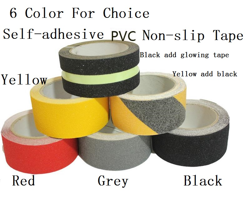 5cm*5M Stairs Floor Bathroom Grind Arenaceous Non-slip PVC Warning Safety Self-adhesive Rough Tape 6 Color For Choice self adhesive hazard warning pvc tape black yellow 4 5cm x 18m
