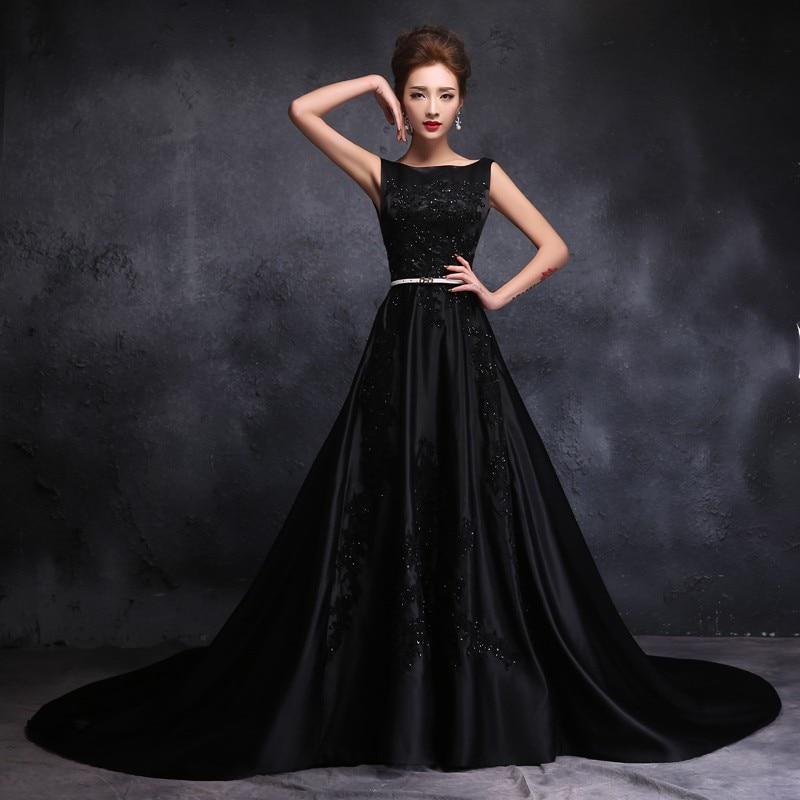 2016 Stain Gothic Black Wedding Dresses Chapel Train Scoop