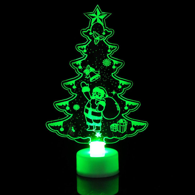 Christmas Changing Color Night Light Acrylic Xmas Tree Santa LED Lamp Home Party Decor Car Accessories Car Styling