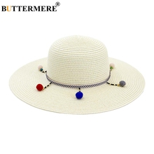 BUTTERMERE Women Sun Hat Wide Brim 11cm Milk White Female Straw Hats Tribal Style Protection Ladies Beach Summer