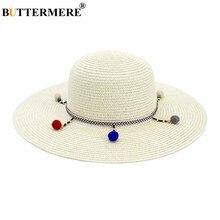 b6898baab9d21 BUTTERMERE Mulheres chapéu de Sol Chapéu de Aba Larga 11 centímetros Leite  Branco do Sexo Feminino Chapéus De Palha Estilo Triba.