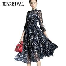 2017 New Spring Summer Women Dress Runway Style Elegant Ladies Vintage Floral Print Maxi Dress Long Chiffon Beach Dress Vestidos