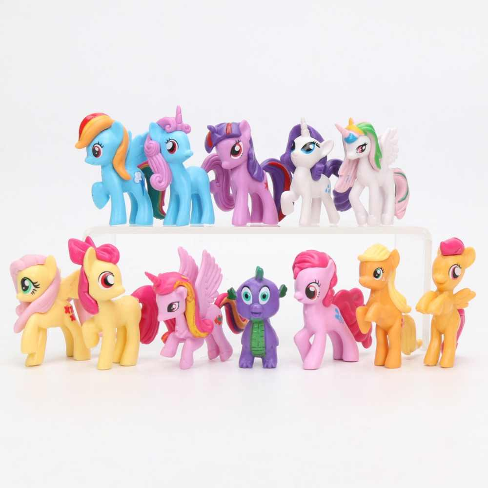 12 pçs/set My Little Pony Brinquedos Mini Ação PVC Figures Set Rainbow Dash Pônei Twilight Sparkle Apple Jack Pico dragão Bonecas