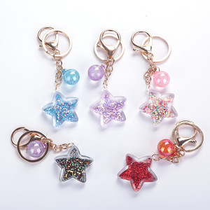 Five-Pointed Star Acrylic Move Sequin Pentagram Keychain Girl Backpack Pendant Key Ring Girlfriend Couple Gift(China)