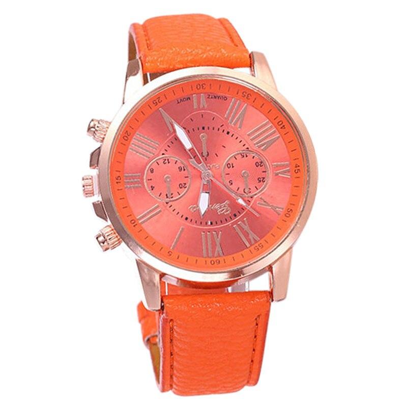 YCYS-GENEVA Fashion Roman Numerals Six-pin Dial Quartz Watch Hot Orange