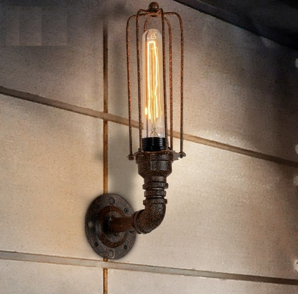 Loft Style Iron Art Water Pipe Lamp Edison Wall Sconce Retro Wall Light Fixtures For Home Vintage Industrial Lighting Arandela iwhd loft style creative retro wheels droplight edison industrial vintage pendant light fixtures iron led hanging lamp lighting