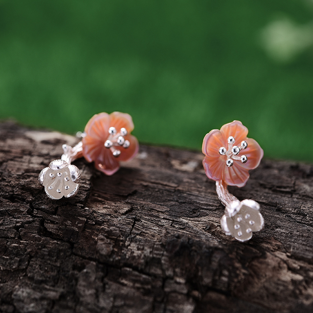 Lotus Fun Real 925 Sterling Silver Natural Creative Handmade Fine Jewelry Unique Begonia Flowers Drop Earrings for Women Brincos