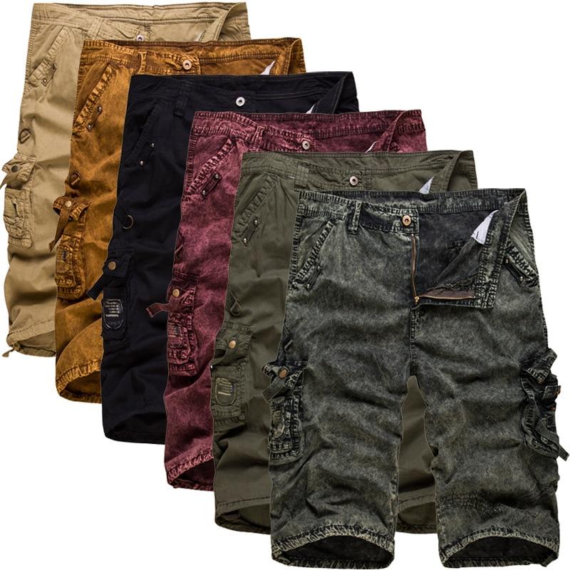 New 2018 Men's Casual Camouflage Shorts Men Loose Cargo Shorts Men Multi-pocket Military Shorts men pocket decoration shorts