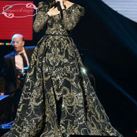 Detachable Evening Dresses V Neck Celebrity Dress Gold Sequins Long Sleeve Black Evening Gowns 2 Pieces