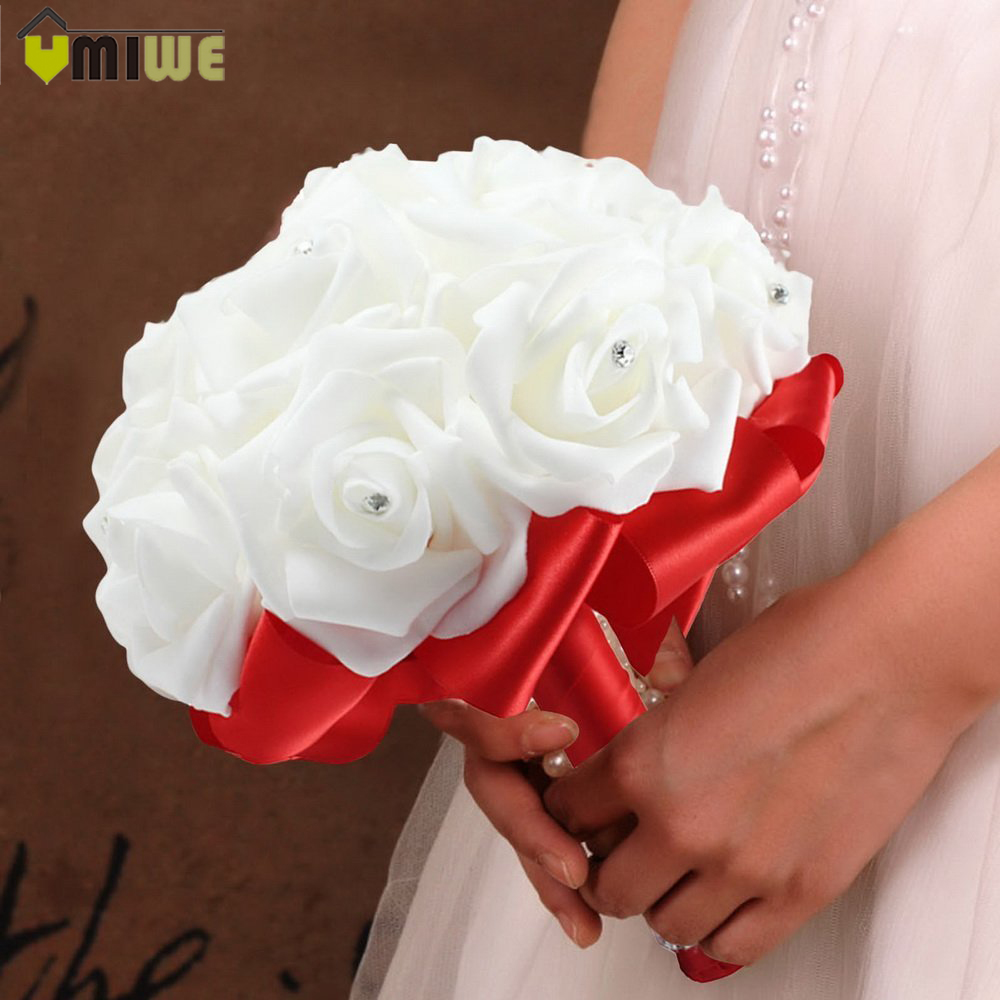 Bridal artificial crystal wedding flower bouquets rhinestone roses bridal artificial crystal wedding flower bouquets rhinestone roses flores artificiales for bride bridesmaid holding flowers in artificial dried flowers izmirmasajfo