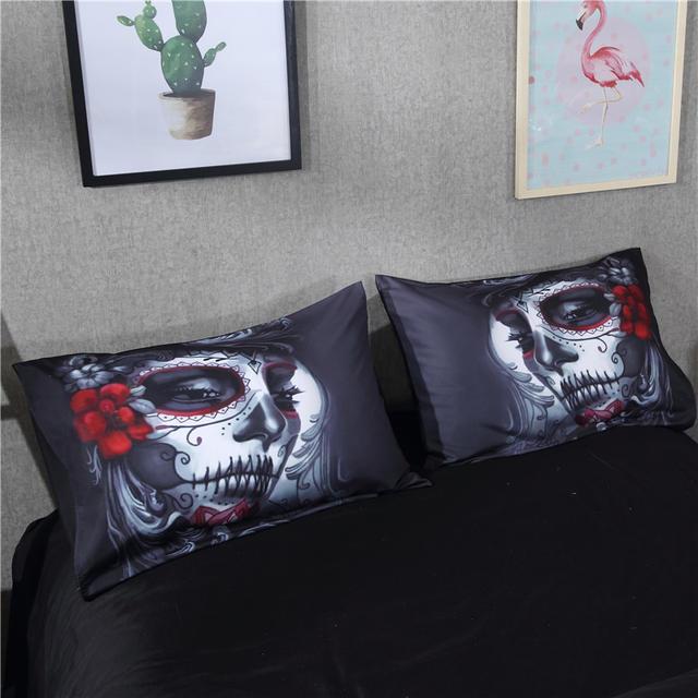 ブラックスカルハロウィンスタイルの寝具セット(2ヴァリアン)