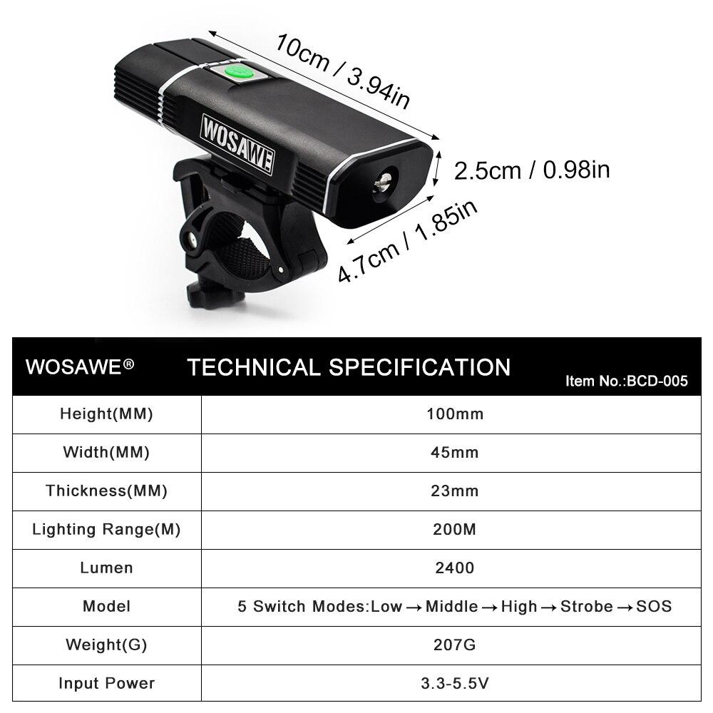 Купить с кэшбэком WOSAWE Cycling Bicycle Light 2400 Lumen XML LED lamp Bike Front Light USB Flashlight Rechargeable 18650 Batteries With holder