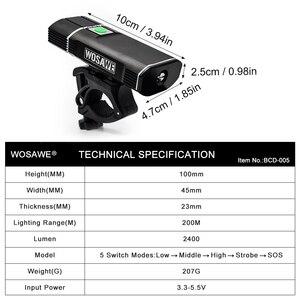 Image 5 - WOSAWE lumière de bicyclette, 2400 lumens, XML lampe à LED, lampe frontale, lampe de poche, piles 18650 rechargeables par USB, avec support
