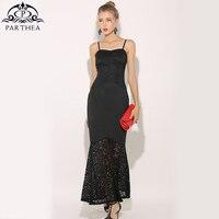 Parthea Elegant Strappy Sleeveless Women Lace Maxy Dress Black Party Dresses Club Summer Trumpet Mermaid Dress Vestidos 2018 New