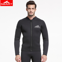 SBART 3MM Neoprene Jacket Wetsuit Men Long Sleeve Drysuit Triathlon Wetsuits Top Sunscreen Winter Warm Sunscreen Scuba Wetsuits