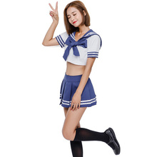 Sexy Adult Women Halloween Japanese School Girls Costume Teen Hot Blue Sailor Cosplay Fancy Pleated Skirt Suit For Ladies