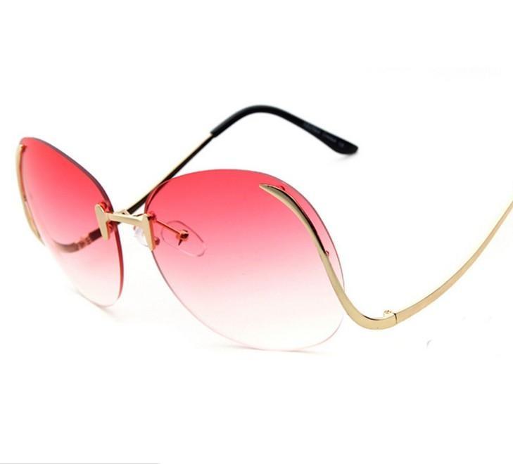 G29 Marque Designer New Surdimensionné Ronde lunettes de Soleil Sans  Monture Femmes De Mode Optique Grand Métal Cadre lunettes de Soleil Élégant  Femelle 9617b3df47a9