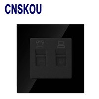2017 SCNKOU Electric Socket Black Crystal Glass Switch 86 86mm RJ11 Telephone And Computer RJ45 Data