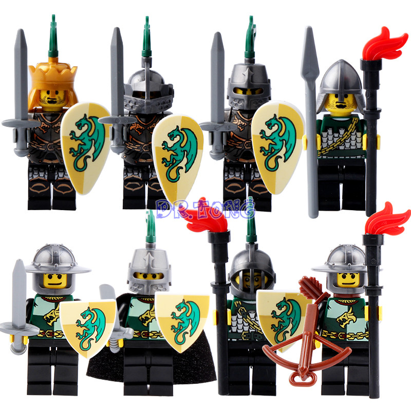 DR TONG Building Blocks Black Knight Medieval Castle Armor Heavy Knight with Weapons Figures Bricks Children