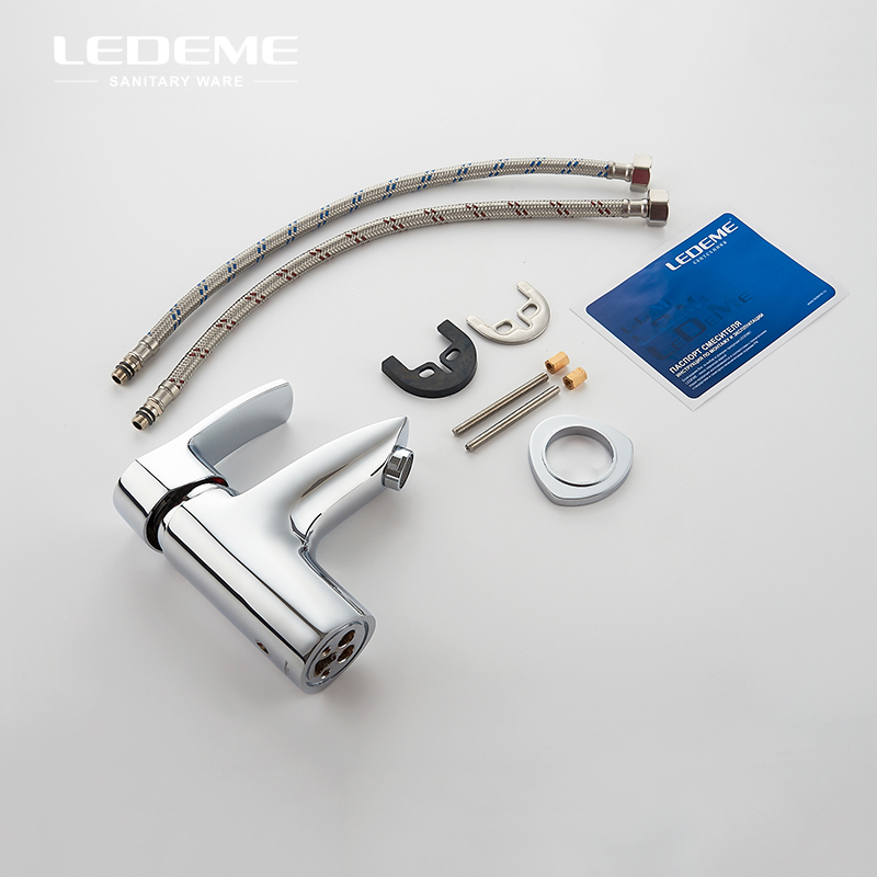LEDEME robinet de lavabo en laiton massif robinet de lavabo moderne à poignée unique robinet de lavabo Simple robinet d'eau évier mélangeur grue L1064 - 3