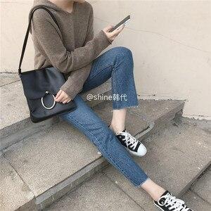Image 4 - Cachemire Lavorato A Maglia Pullover Donna Maglione Con Cappuccio 2 Colori di Stile Coreano Caldo di Vendita di Modo Pullover Femminile di Lana Maglieria Vestiti Magliette e camicette