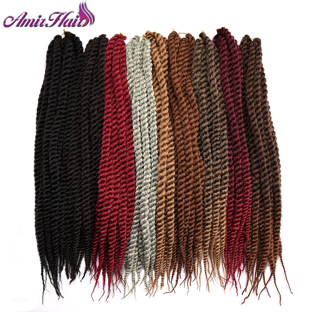 Amir Hair 22inch Synthetic Havana Twist Braiding Hair with Long Black and Blonde Crochet hair extensions