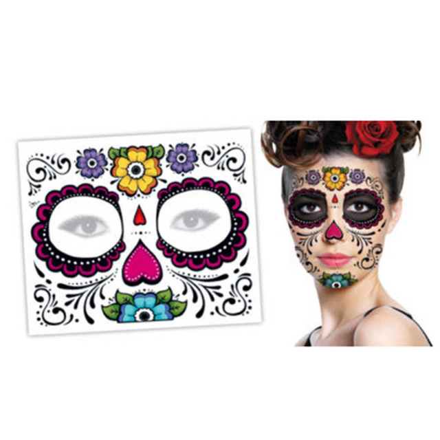 Temporary Tattoo 2PCS Day Of The Dead Dia de los Muertos Face Mask ...