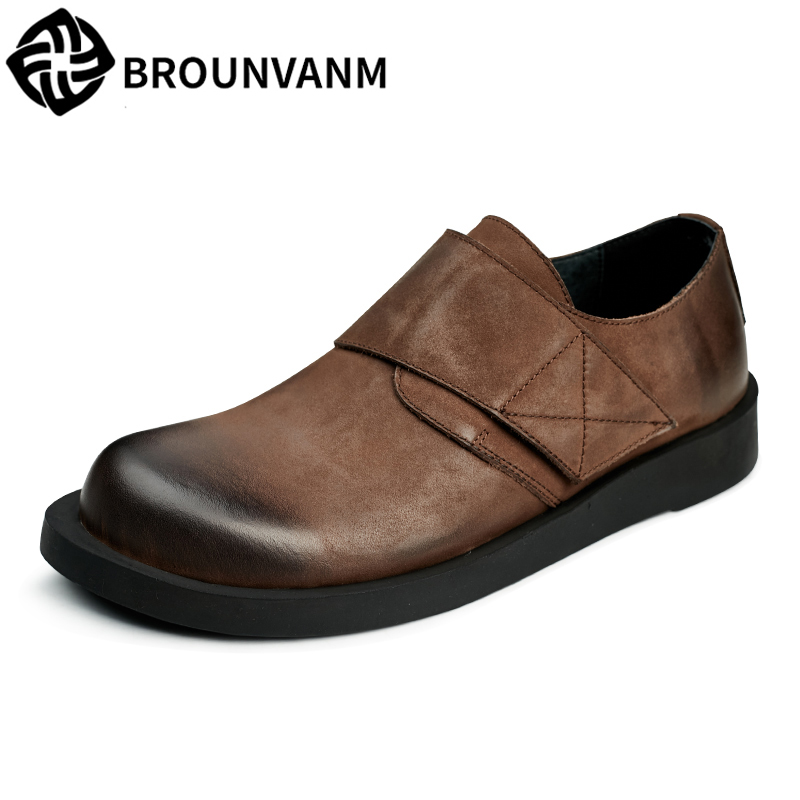 spring and autumn summer male casual shoes British retro men's shoes men loafer pedal shoes all-match cowhide breathable Leisure