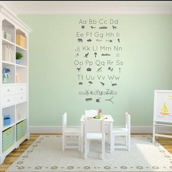 ABC alfabeto imagen iconos Shilouettes pared calcomanía pegatinas niños habitación Casa de vinilo de arte decoración de la enseñanza de los niños fondos de pantalla LC575