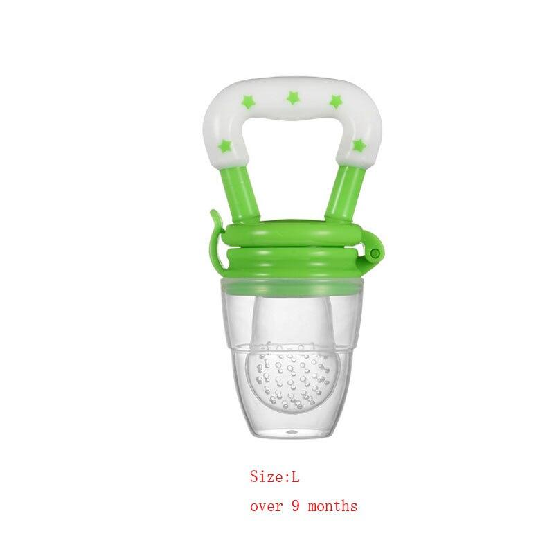 Силиконовый детский успокоитель младенцев Соска-пустышка детские соски Фидер для еда, фрукты пустышки для младенцев для кормления с соской - Цвет: Green L