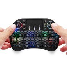 7 цветов с подсветкой i8 Мини Беспроводная клавиатура 2,4 ГГц английский 3 цвета Air mouse для компьютера Smart tv веб-плеер X-BOX