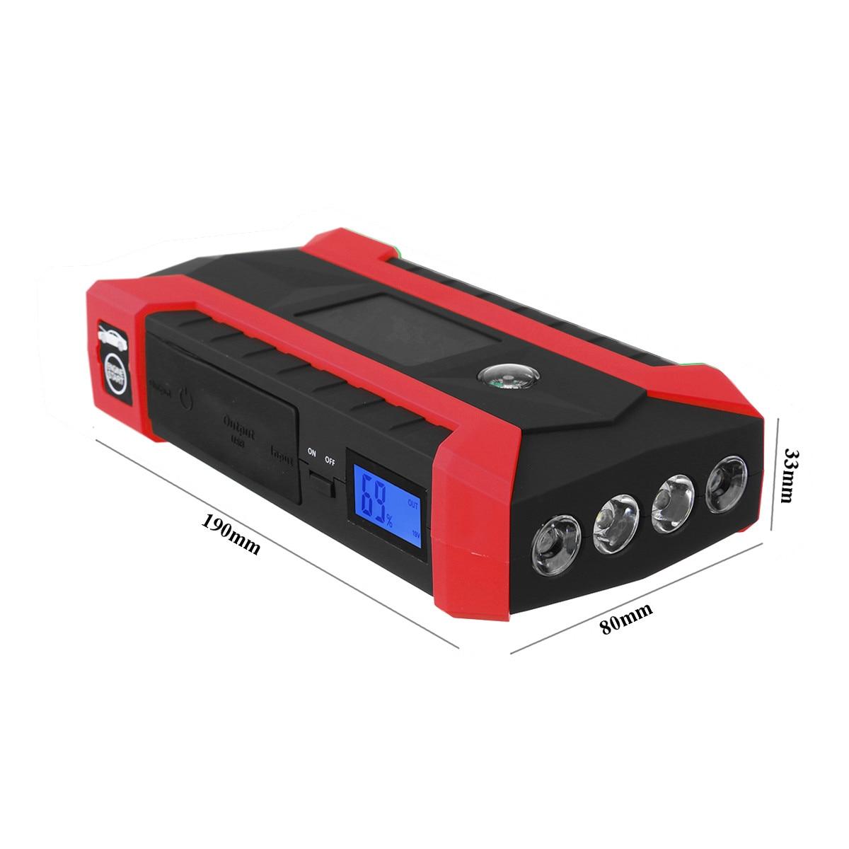 Démarreur de saut 89800 mAh chargeur de voiture multifonction démarreur de saut de batterie 4USB lumière LED Kit de batterie externe Mobile d'urgence automatique 600A - 2