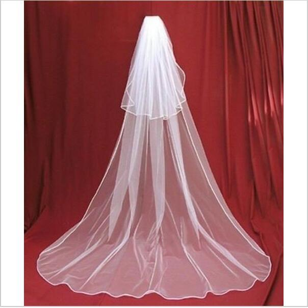 2016 Free Shipping Veil In Bride Veils Charming Ivory/white 2 Tier Cathedral Wedding Veil With Comb Lace Purfles Custom 3 Meters