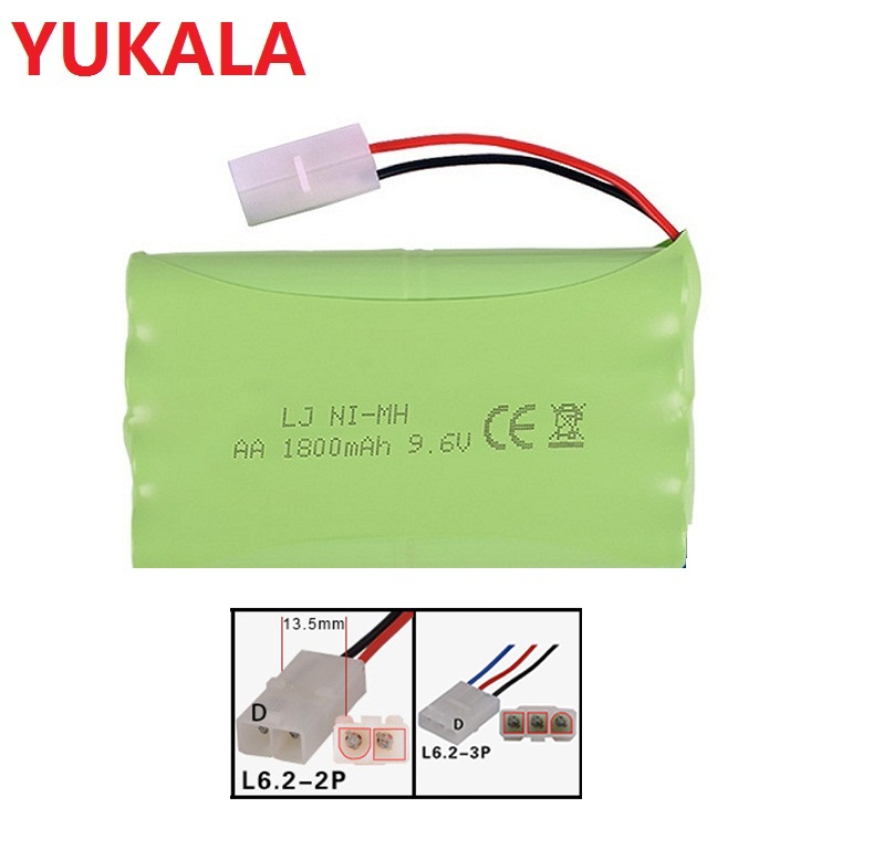 YUKALA 9.6V 1800MAH/2800MAH Ni-CD AA battery for RC Truck/RC car/ RC boat/ RC tank ewellsold 2pcs lot 4 8v 700mah ni cd aa battery for rc car