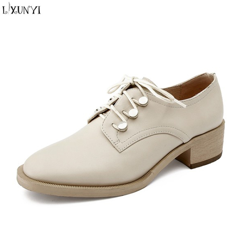 LXUNYI 2018 New Lace Up Oxford Shoes Women Spring Autumn Fashion Thick Heel High Heels Woman Pumps Real Cow Leather Casual Shoes zjvi woman pointed toe thick high heels pumps 2018 women spring autumn lace up shoes ladies women s female nubuck casual pump