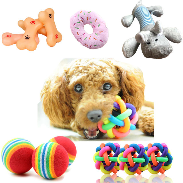 1pcs Popular Puppy Dog Toys Ball For Dogs Squeak Toys Pet Ball Rainbow Color Chew Toys Play For Teeth Training Pet Accessories