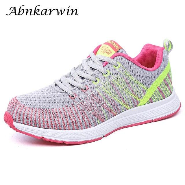 Mulher correndo sapatos de ginásio 2020 tênis esporte respirável chaussures femme cesta rendas até zapatillas mujer calzado luz
