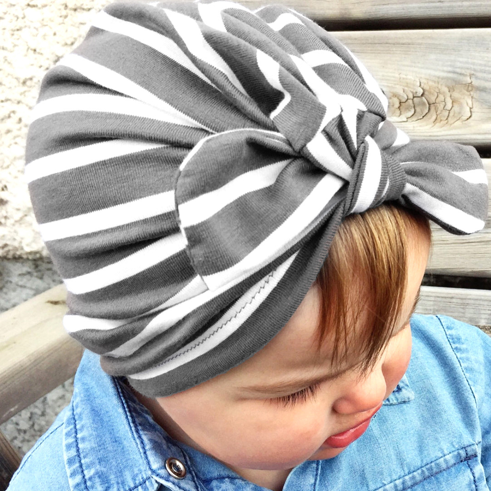 Stripe Printed Newborn Cotton Bow knot Hat Bebes Girls Beannies Candy Color Infant Baby Beanie Caps Girls Boys Top Hairbows
