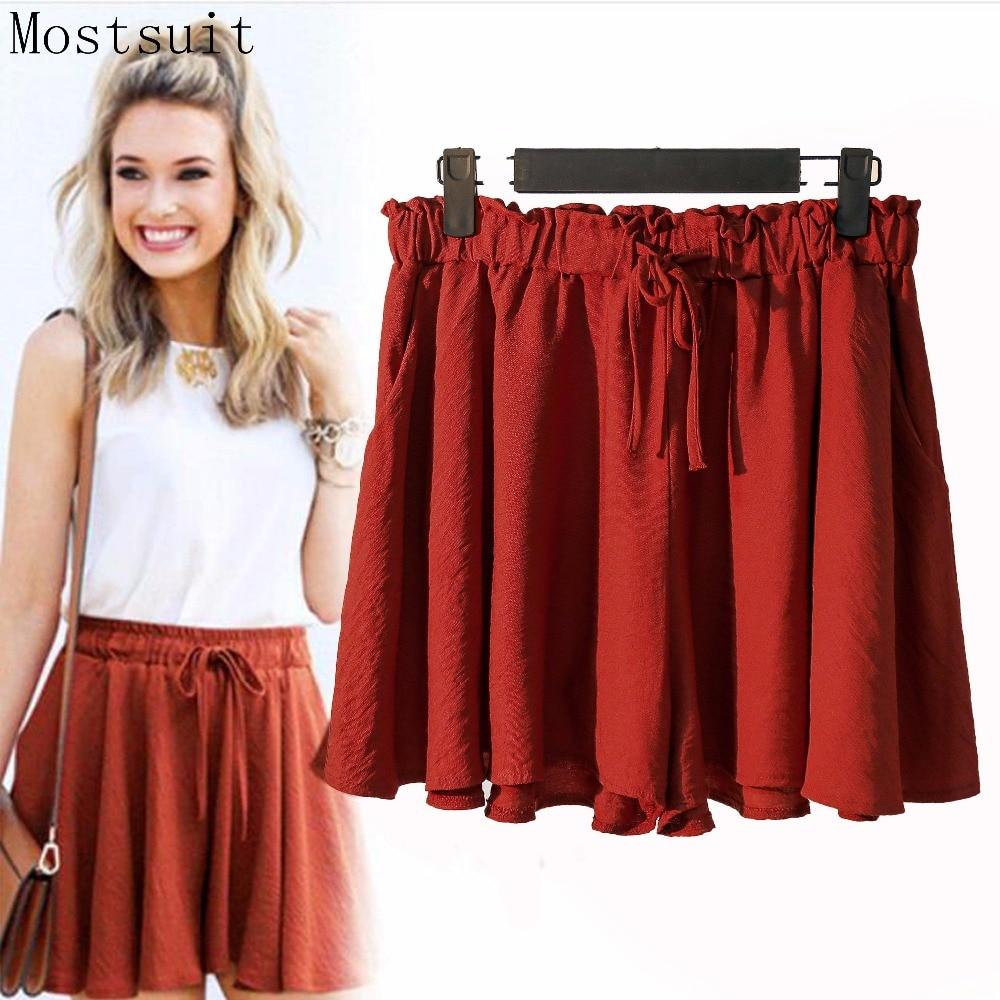 2018 Cotton Linen   Shorts   Skirts Women Summer Elastic High Waist Lace-up Bow Wide Leg   Shorts   Casual Loose Plus Size Xl-5xl   Shorts