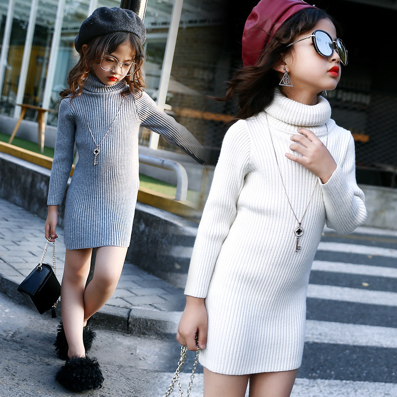 2017 New Autumn Winter Girls Sweater Princess Dress Fashion Wear Long Sleeved Knit Black White Red Dress Vetement Fille Costume bar iii new black white women s xl marled open knit scoop neck sweater $79 439