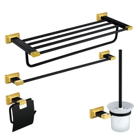 Gold and Black Brass Copper High quality 4PCS/Set bathroom ware Bathroom hardware accessories Set