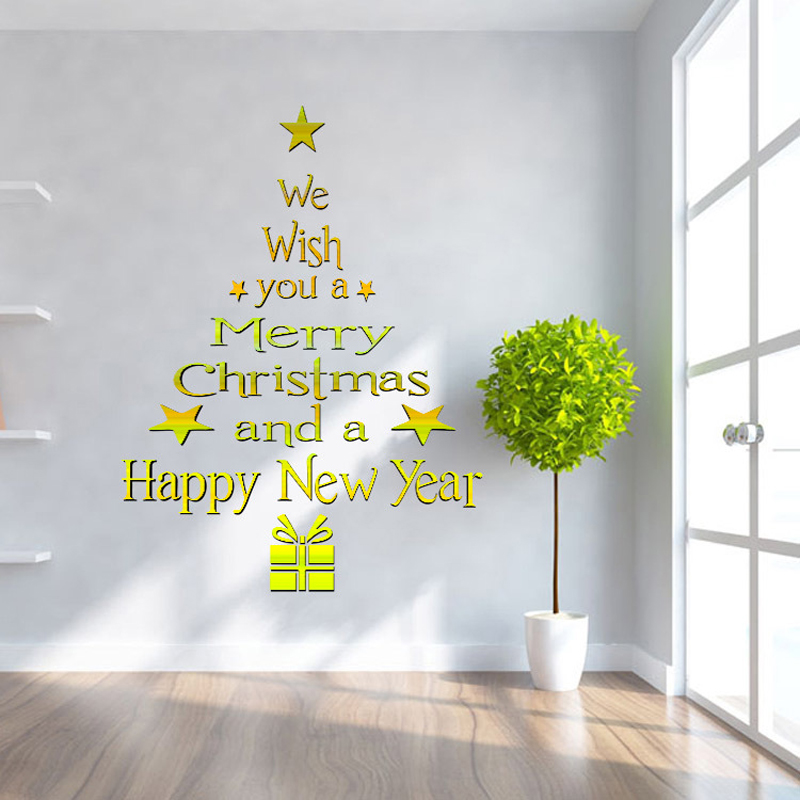 2015 New Golden Christmas Tree Wall Sticker Environmental Removable